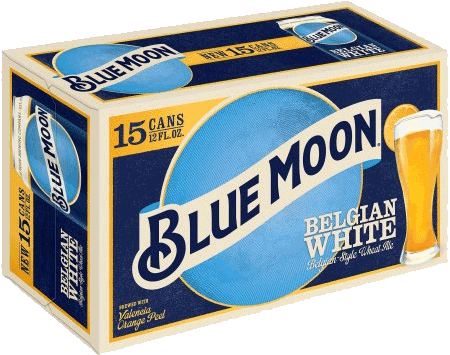 Blue Moon Belgian White is now available in 15 packs of cans at Belknap Liquor in Superior Wisconsin