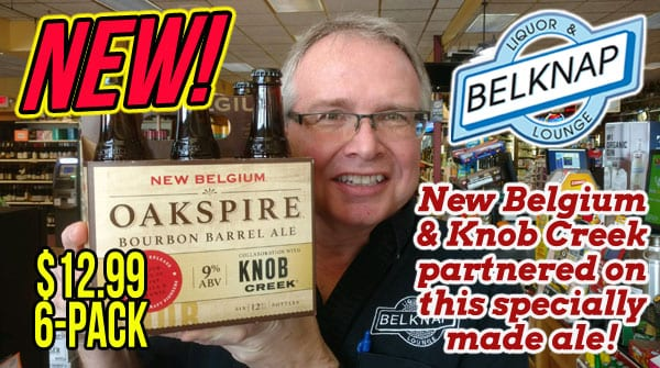 Oakspire Bourbon Barrel Ale from New Belgium and Knob Creek now $12.99 per six pack